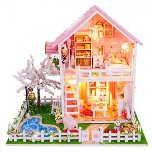 Wooden Doll House Mini Kit with LED Light DIY Handcraft Toy - COLORMIX