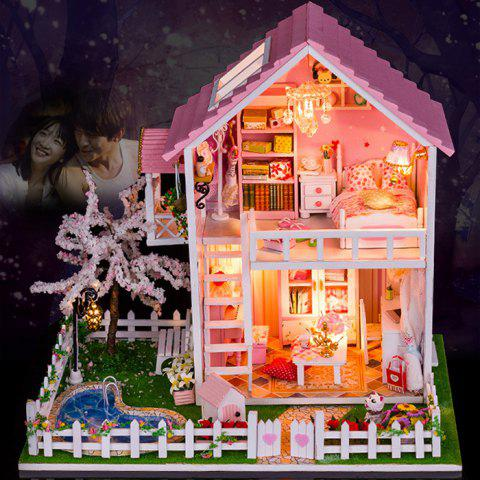 Fancy Wooden Doll House Mini Kit with LED Light DIY Handcraft Toy COLORMIX