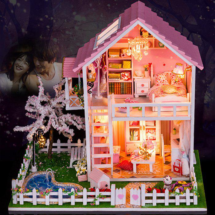 Fancy Wooden Doll House Mini Kit with LED Light DIY Handcraft Toy