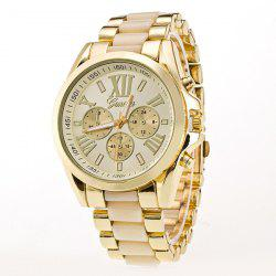 Roman Numerals Steel Watch - BEIGE