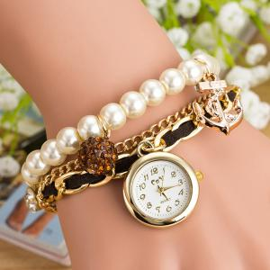 Artificial Pearl Rhinestone Bracelet Watch