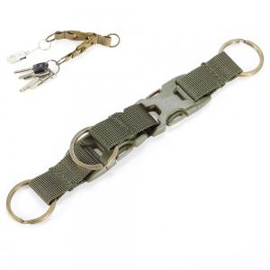 High-density Nylon Tactical Keychain with 3 Key Rings for MOLLE System - Army Green