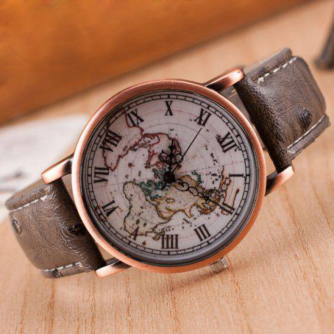 Sale World Map Roman Numerals Quartz Watch