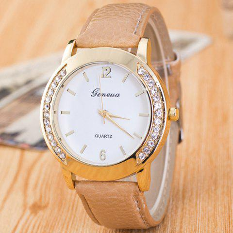 Outfit Artificial Leather Rhinestone Quartz Watch