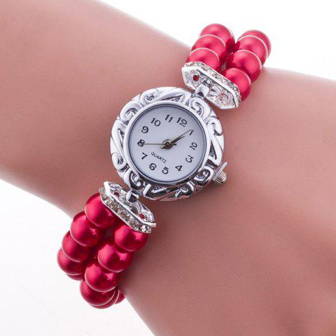 Trendy Beaded Bracelet Watch RED