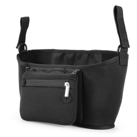 Affordable Chloroprene Rubber Baby Carriage Bag with Detachable Mobile Phone Pouch - BLACK  Mobile
