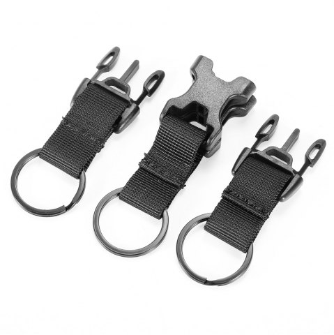 Sale High-density Nylon Tactical Keychain with 3 Key Rings for MOLLE System - BLACK  Mobile