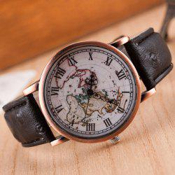 World Map Roman Numerals Quartz Watch - BLACK