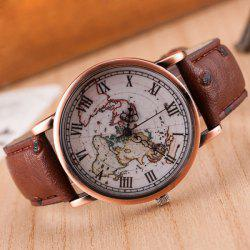 World Map Roman Numerals Quartz Watch -