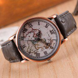 World Map Roman Numerals Quartz Watch