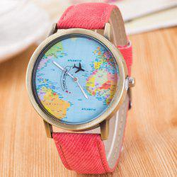 World Map Airplane Travel Quartz Watch - PINK