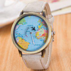 World Map Airplane Travel Quartz Watch - WHITE