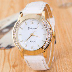 Artificial Leather Rhinestone Quartz Watch - WHITE