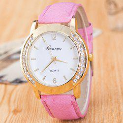 Artificial Leather Rhinestone Quartz Watch -