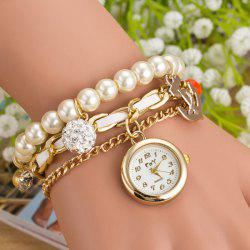Artificial Pearl Rhinestone Bracelet Watch - WHITE
