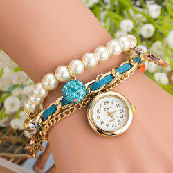 Artificial Pearl Rhinestone Bracelet Watch -