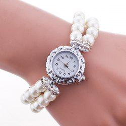 Beaded Bracelet Watch - WHITE