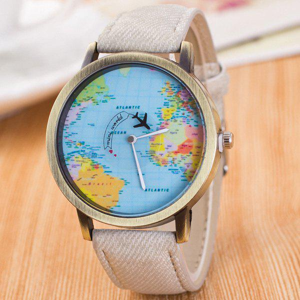 Fashion World Map Airplane Travel Quartz Watch