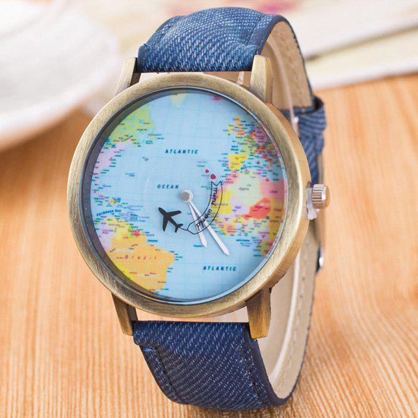 World Map Airplane Travel Quartz WatchJEWELRY<br><br>Color: DENIM BLUE; Watches categories: Female table;