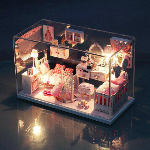 Wooden Doll House Mini Kit with Furniture DIY Handcraft Toy - Colormix