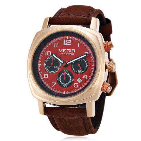 Chic MEGIR 1056 Water Resistance Working Sub-dials Quartz Watch Date Function Genuine Leather Band for Men