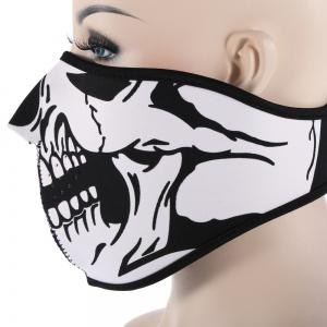 Outdoor Cycling Skull Mask Windproof Riding Face Guard - WHITE AND BLACK