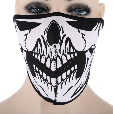 Store Outdoor Cycling Skull Mask Windproof Riding Face Guard WHITE AND BLACK