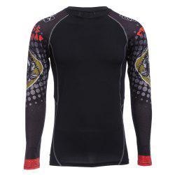 Men Red Crossroad Skull Print Long Sleeves Compress Tight T-shirt Quick-drying Fitness Cloth
