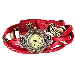 Quartz Watch with Wing Design Round Dial and Leather Watch Band for Women - RED
