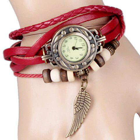 Store Quartz Watch with Wing Design Round Dial and Leather Watch Band for Women RED