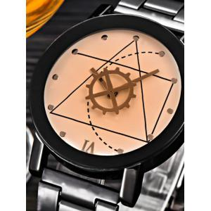 Geometric Gear Dial Stainless Steel Watch -