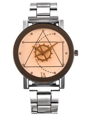 Fashion Geometric Gear Dial Stainless Steel Watch