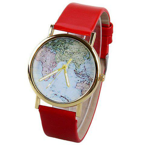Shop Map Pattern Quartz Watch with Analog Indicate Leather Watchband for Women