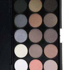 Natural 15 Colors Long Lasting Pearly Eyeshadow Palette - JET BLACK