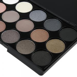 Natural 15 Colors Long Lasting Pearly Eyeshadow Palette - JET BLACK 01#
