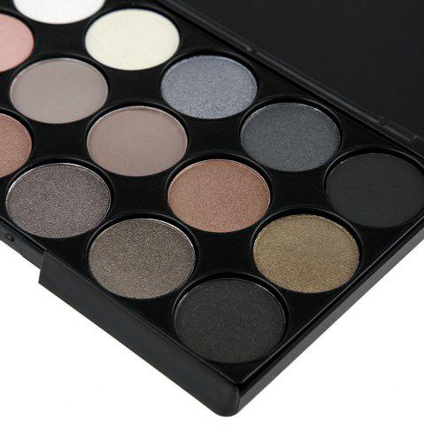 Outfit Natural 15 Colors Long Lasting Pearly Eyeshadow Palette - JET BLACK 01#  Mobile