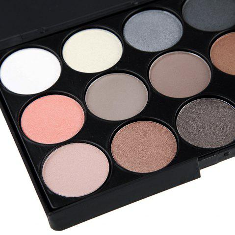 Latest Natural 15 Colors Long Lasting Pearly Eyeshadow Palette - JET BLACK 01#  Mobile