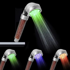 SDS-A23 3 Colors Anion LED Shower Head Sprinkler Dechlorination Magnetic Therapy Booster with Temperature Sensor for Bath -