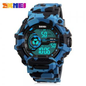 SKMEI 1233 EL Backlight Alarm Sports Watch with 50M Waterproof for Men - Blue Camouflage - Us Plug