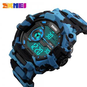 SKMEI 1233 EL Backlight Alarm Sports Watch with 50M Waterproof for Men - BLUE CAMOUFLAGE