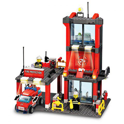 Trendy 300pcs ABS Mini Fire Station Building Block Model DIY Birthday Gift for Kids COLORMIX