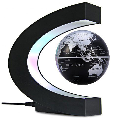 Online Creative C Shape Magnetic Levitation Floating Globe World Map with Colorful LED Light for Desk Decoration - BLACK  Mobile