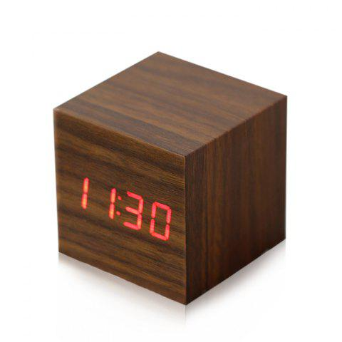 Chic Wooden Square Red LED Alarm Digital Desk Clock Voice Control with Thermometer Time Month Date Display BROWN