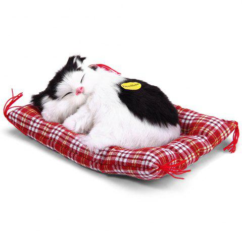 Simulation Animal Sleeping Cat Craft Toy with Sound - Black White