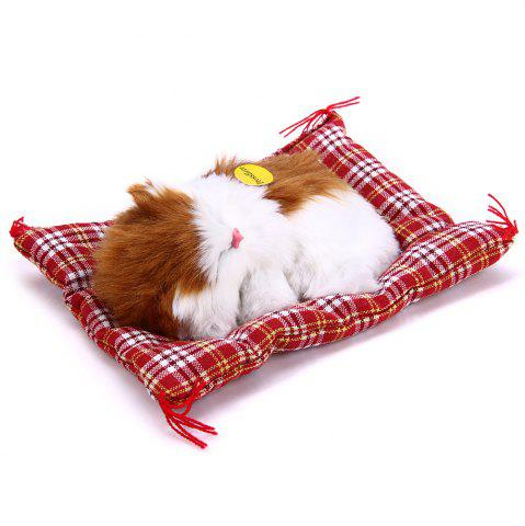 Affordable Simulation Animal Sleeping Cat Craft Toy with Sound - YELLOW WHITE  Mobile