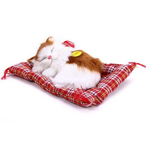 Discount Simulation Animal Sleeping Cat Craft Toy with Sound YELLOW WHITE