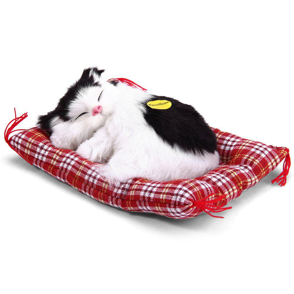 Simulation Animal Sleeping Cat Craft Toy with SoundHOME<br><br>Color: BLACK WHITE; Age: All Age; Material: Cotton,Leather,Plush; Feature Type: Chinese;