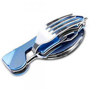 4 in 1 Stainless Steel Foldable Tableware Fork / Spoon / Knife / Bottle Opener - COLORMIX