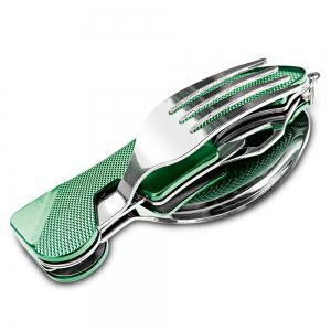 4 in 1 Stainless Steel Foldable Tableware Fork / Spoon / Knife / Bottle Opener -