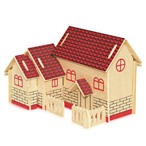 Outfits Wooden DIY Music Box Villa Shape Handcraft Educational Toy for Child - RED  Mobile